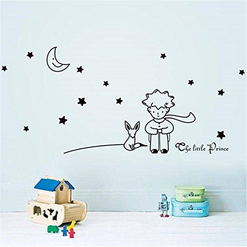 ZARU Pared Pegatina Estrellas Luna El pequeño príncipe muchacho Decoración para el hogar Navidad