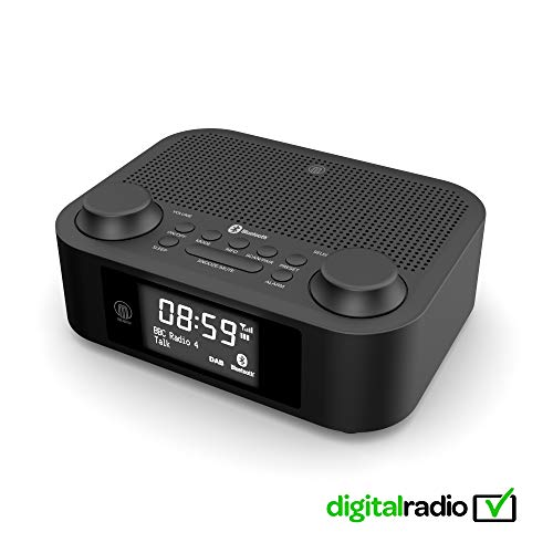 Majority Fulbourn II DAB/DAB+/UKW Digital-Radio - Bluetooth Wireless - Uhrenradio - Dualer Radiowecker Weckzeiten - Schlummerfunktion und Sleeptimer - Dual USB Aufladen (Schwarz)