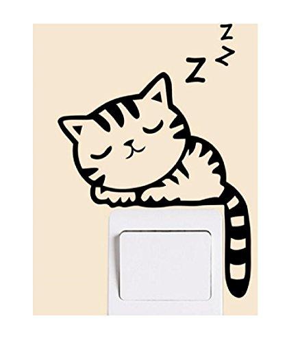 SMARTLADY Gato Pegatinas de pared Interruptor de la luz Decoración arte Mural para Bebé Parvulario Habitación