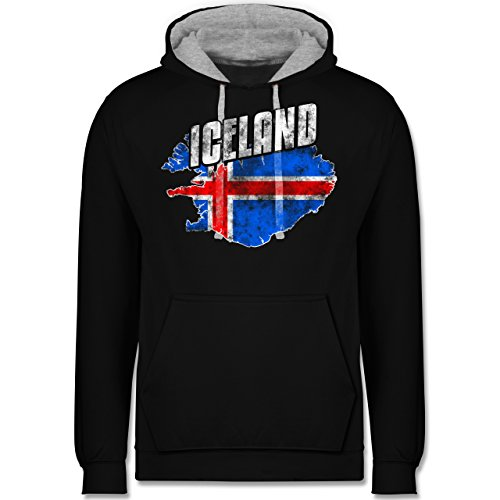Fußball-WM 2018 - Russland - Iceland Umriss Vintage - Kontrast Hoodie Schwarz/Grau Meliert