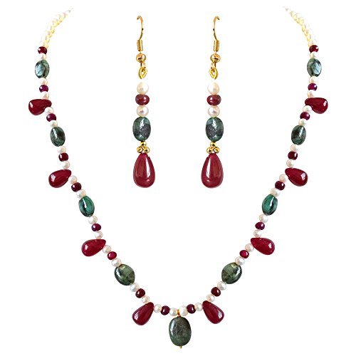 Surat Diamonds Real Oval Green Emerald, Red Drop Ruby & Beads & Freshwater Pearl Necklace Earring Set for Women (SN689)  available at amazon for Rs.2699