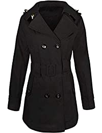 7ae021083c26 WOMENS LADIES DOUBLE BREASTED MAC BELTED COAT CANVAS SMART JACKET TRENCH  PARKA