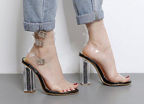 Aisun Damen Modisch Schnallen Knöchelriemchen Durchsichtig Blockabsatz Sandalen Schwarz