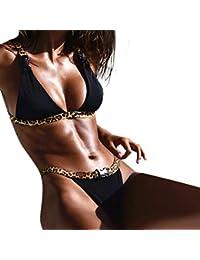 Bikini de Leopardo para Mujer Traje de baño Sujetador Relleno de Dos Piezas Traje de baño
