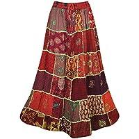 Mogul Interior Women Long Skirt Maroon Patchwork Gypsy Tiered Maxi Skirt S/M