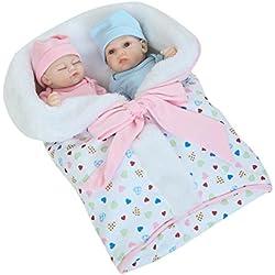 Domybest Renacer Muñeca de Silicona Suave Gemelos Bebé con Ropa para los Niños