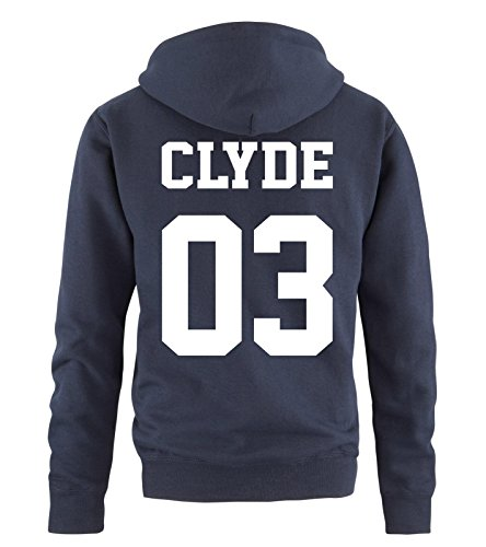 Comedy Shirts - Clyde 03 - Herren Hoodie - Navy/Weiss Gr. XL