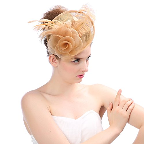 Bestting Fascinators Hair Clip Stirnband Pillbox Hut Bowler Feder Blumen Schleier Hochzeit Party Hut Frau Und Mädchen,Gold (Hut Gold Bowler)