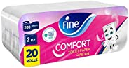 Fine, Sterilized Toilet Paper, Comfort, 200 sheets, 2 Ply, pack of 20 rolls