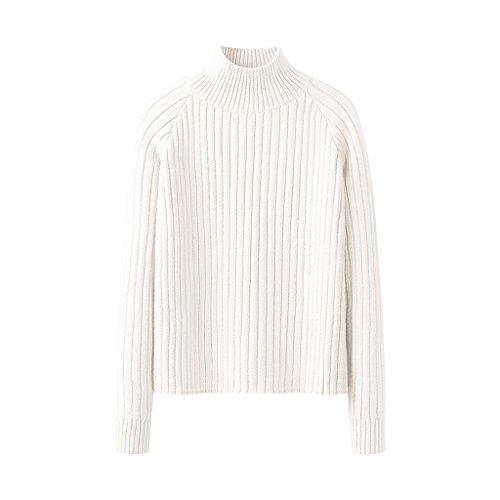 Winterbluse Damen Strick lose kurzer Pullover ( Farbe : Weiß , größe : S )