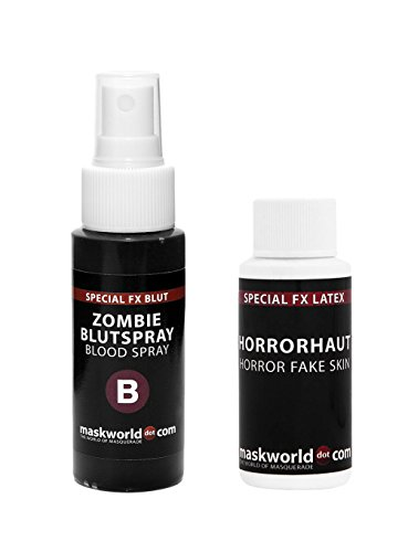 Zombie Halloween Make-Up Set mit Horrorhaut und Blut-Spray