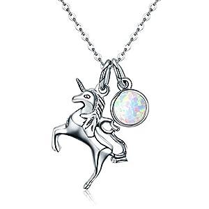 Halskette mit Anhänger für Damen, Pferd, Mädchen, Pferd, 925er Sterlingsilber, mit Rolo-Kette für Damen, 45,7 cm, Weihnachtsgeschenke für Frauen, Geschenk-Box