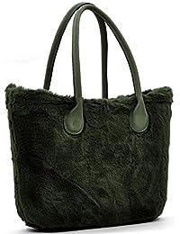 borsa bag spalla DONNA fantasia silicone manici sacca scocca completa ricamati bordo pelliccia pelo smontabile