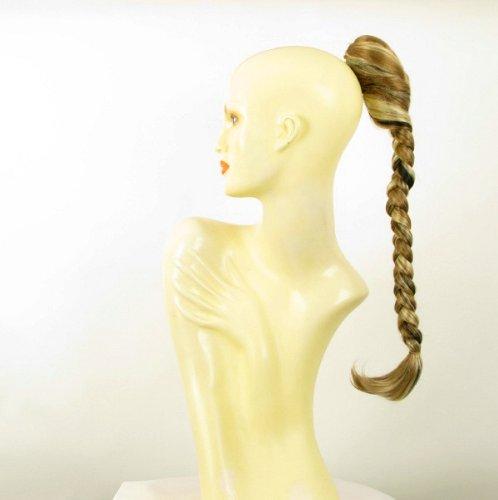 Postiche queue de cheval extension femme longue natte blond clair méché cuivré clair et chocolat ref 4 en 15613h4