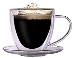 Idea Regalo - Grande tazza termica 350ml doppio vetro a forma di cuore, con piattino - tazza in vetro per tè / caffè, nobile e di grandi dimensioni con effetto fluttuante, tazza di vetro a forma di cuore dentro, manico e piattino, Celissimo per Natale, San Valentino, Festa della mamma.