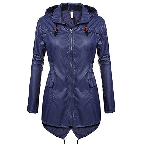 Yying New Damen Kapuzen-Kontrast-Zip leichte duschtaugliche Jacke Top Raincoat Navy Blue XL (Navy Blue Raincoat)
