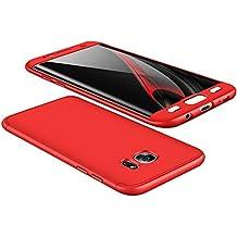 vanki Custodia Samsung Galaxy S7 Edge, 360 Gradi della Copertura Completa 3 in 1 Hard Stilosa Pc Case Cover Protettiva Bumper Posteriore per Galaxy S7 Edge (Samsung Galaxy S7 Edge, Rosso)