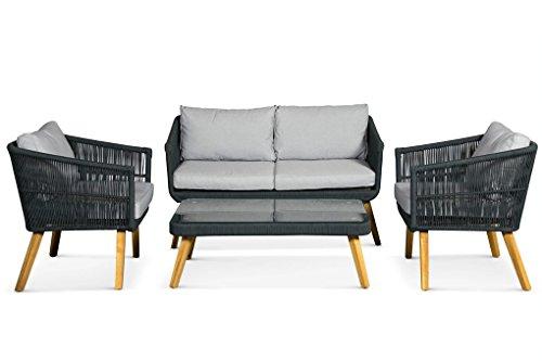 Lanterfant - Loungeset Maxim, Sitzgruppe, 4 Sitze, Schwarz, Gartenset, Sitzgarnitur -