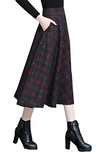Tribear Damen Vintage Winter Herbst tartan mit hoher Taille flared röcke knielange Kleider 8858Rot