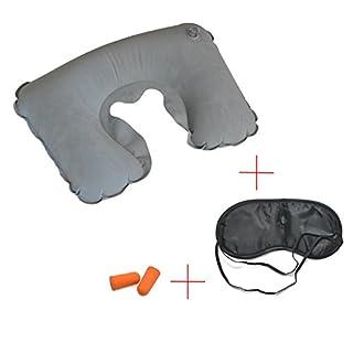 Grenhaven 3 in 1 Schlaf-Reiseset mit Aufblasbaren Nackenkissen, Augenmaske, 1 paar Ohrstöpsel für Flugzeug, Auto oder Zug