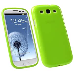 Samsung Galaxy S3 i9300 Green Soft Tpu Rubber Gel Skin Case Cover Plus Screen Protector & Cleaning Cloth