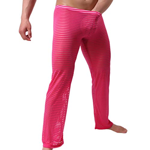Men's Lingerie Thong Underwear Sexy Soft String Bikini Underpants Pack of 6 (XL, Hose Rose)