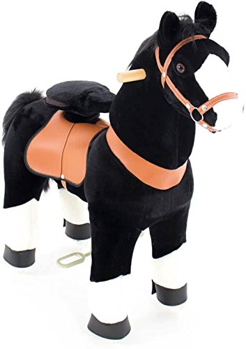 Ponycycle - cheval à roulettes Noir / Blanc Moyen - Noir Mane