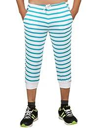 Clifton Mens Small Stripes SlimFit Capri-Deep Aqua