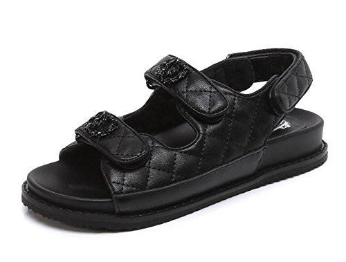 Donne Apri Pattini Piani Velcro Metallo Sandali Dei Pattini 2017 I Pattini Piani Delle Nuove Scarpe Da Cucire Di Cuoio Di Estate Black