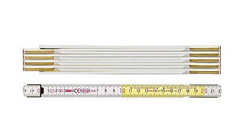 BMI 984914300WG Meterstab / Zollstock 9143WG | 3 m langer Zollstab aus Buchenholz mit 10 Gliedern, verdeckte Nieten, vermessingte Stahlfedern | Länge: 3 Meter, Breite: 1,6 mm, Farbe: Weiß / Gelbe