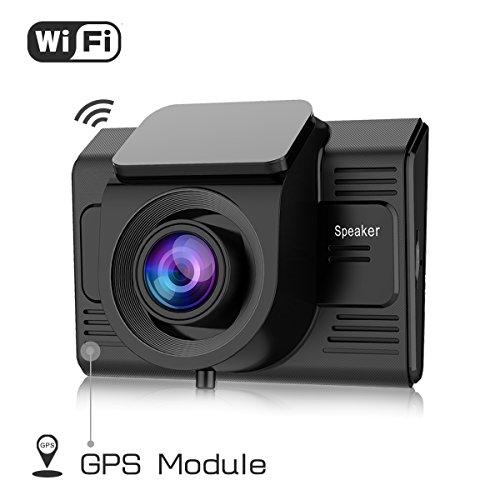 TOGUARD Caméra de Voiture GPS et WiFi Dashcam Voiture Full HD 1080P, Caméra Embarquée Voiture Grand Angle 170°, Écran 2,45 Pouces - Dash Cam avec Module GPS Intégré, WiFi, Enregistrement en Boucle, G-sensor, Détection de Mouvement, Moniteur de Stationnement