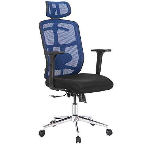 Topsky Mesh Computer Bürostuhl Ergonomischer Designstuhl Skelett-Rücken-Synchronmechanismus Aufhängerfunktion (Navy) Paket MEHRWEG - Navy Computer Stuhl