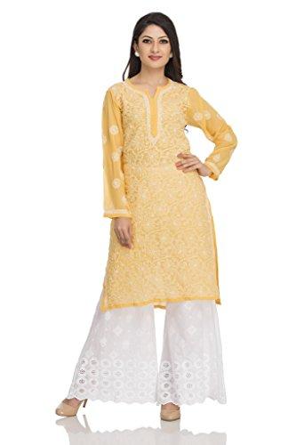 ADA Traditional Chikan Regular Wear Georgette Kurta Kurti With Fancy Handmade Work...
