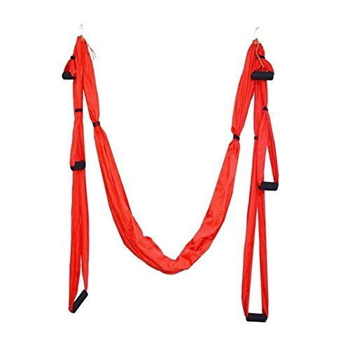 EMVANV Yoga Hängematte Parachute Stoff Swing Trapeze Set Ultra Starkes und bequemes antigravitation Antenne für Inversion Übungen Pilatus Fitness Flexibilität Core, rot