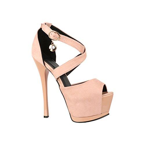 Elara Damen Pumps | Moderne Cut Out Stilettos | Peep-Toe High Heels | Chunkyrayan | TS6204 Pink-40 Peep Toe High Heel Stilettos