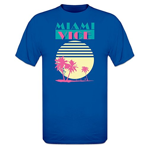 Miami Vice Sunset and Palms T-Shirt, Royal Blue