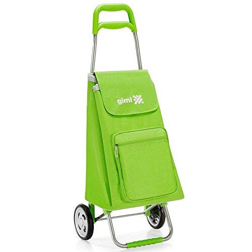 Einkaufsroller Farbe Grün mit Struktur aus Stahl und Tasche aus Polyester der Gimi Typ Argo