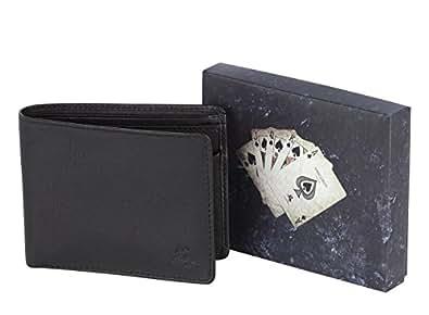 """Visconti portafoglio di pelle da uomo a piegatura doppia """"BOND"""" Luxury Leather Wallet (BD10): (Poker)"""