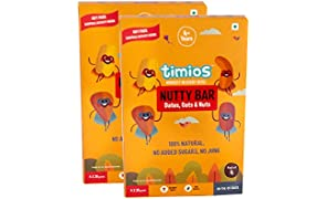 Timios Nutty Bar | Healthy Snack for Kids | Natural Energy Food Product for Toddlers | Nutritious and Ready to Eat | Children 4+ Years | Pack of 8