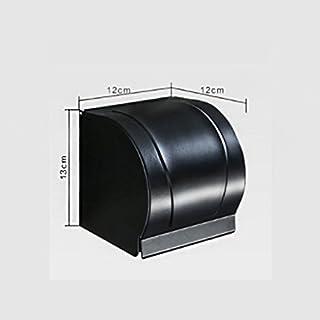 Wand-halterung schwarz aluminium gewebekasten,Wasserdichte roll holder bad griff toilettenpapier halter bad papier rack-B 12x12x13cm(5x5x5inch)