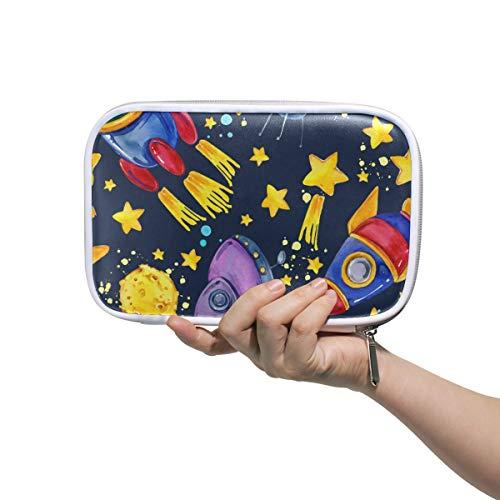 ISAOA Große Kapazität Multifunktions-Mäppchen für Schule, Space Rocket Flying Moon Planet Ohr, stabiles Schreibwaren, Federmäppchen, Kosmetiktasche für Stift, Make-up, Pinsel, Notizbuch - Office Space Kit