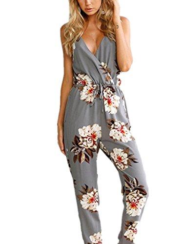 Damen Jumpsuit Internet Sleeveless Floral Print Party Jumpsuit Spielanzug Strand Hose (XL, grau) (Hippie Print Kostüme)