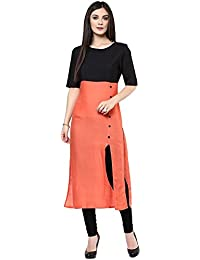 HARI OM CREATION Women's Cotton A-Line Kurti (Sadi-01_Orange_Free Size)