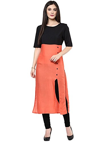Kurti For Women Offer On Latest Regular & Party Wear Semi_Stiched Dress Material Cotton Fabric In Low Price Orange Color