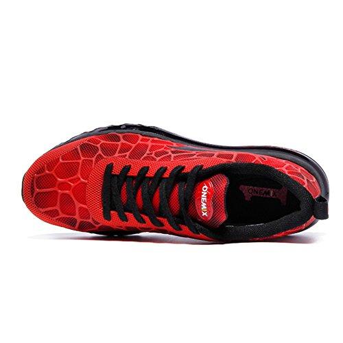 Sport Uomo Fitness Multicolore Da Scarpe Aria Da Nero Corsa Ginnastica Jogging Onemix Scarpe Di Di Traspirante Stile Rosso Gara Merletto Ginnastica wqTHP81Yx
