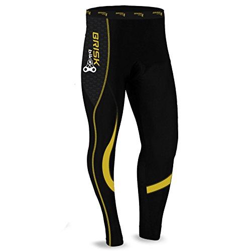 Brisk Bike Thermo-Radhosen Fahrradhosen Radsport-Leggings Fahrradhosen Radlerhosen gepolsterte Radhosen professionelle Radhosen Fahrradkleidung Mountainbike (Black/Yellow, XL)
