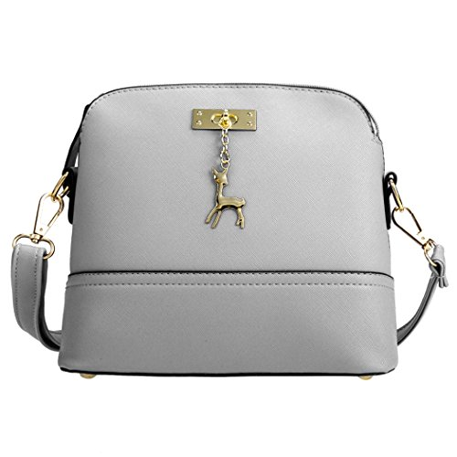 Tote Bag - All4you Frauen Kunstleder Schultertaschen kleine feste Handtasche Cross-Body-Bag(Grey) (Tasche Unterschrift Drucken Schulter)