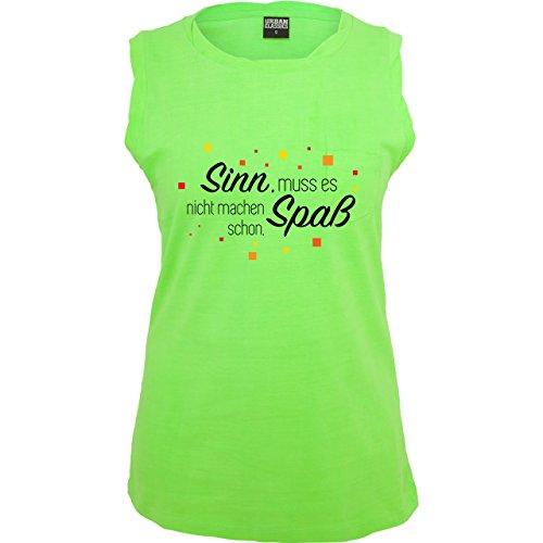 Statement Shirts Sinn muss es nicht machen, Spaß schon ärmelloses Damen  TShirt mit Brusttasche Neon Grün