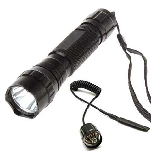 WindFire New Wf-501b Cree Xm-l T6 LED 1000 Lumens 1 Mode Tactical Flashlight Torch with Remote Switch for WF-501B Tactical Flashlight 501B Pressure Tail Switch 501 Mouse Tail Switch Wire Switch Extension Cable (Batteries not included)
