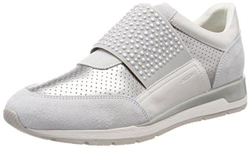 Geox Damen D Shahira A Sneaker, Silber (Off White/Silver), 38 EU